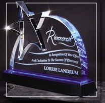 BUSINESS GIFTS-ARCHED ETCHED STAR BLUE ACRYLIC TROPHIES